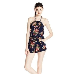 Angie Floral Keyhole Halter Romper with Pockets
